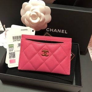 20S Chanel Cardholder Blue or Pink Caviar Leather